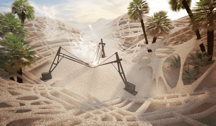 robot modelujuci s piesku obydlia