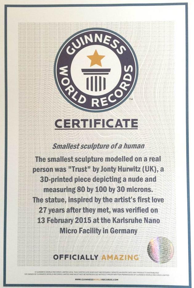 certifikat najmensia socha na svete