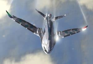 """Vizionársky Eco-Jet projekt realizovaný firmou OVIDesign. Projekt pokrstený pod názvvom """"AWWA Progress Eagle"""" predstavuje, ako bude vyzerať letecká doprava v roku 2030"""