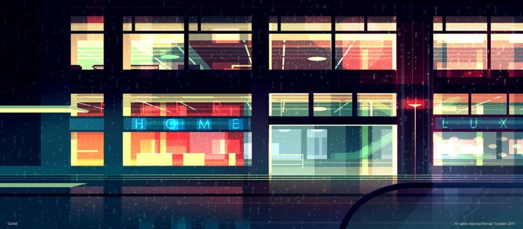 2D grafika Perspektívy ulíc budov z čelného pohľadu alebo z vtáčej perspektívy to všetko nasvietené z reflektorov áut neónových svetiel alebo pouličného osvetlenia Umelec nás zanesie svojou zbierkou ilustrácie do iného sveta