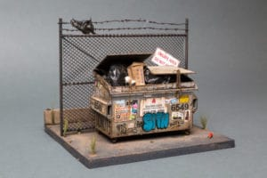 miniatúrna budova špinavého veľkomesta