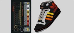 New York agentúra Neely & Daughters účinkujúca v súťaži s názvom Just for Kicks predstavila veľmi odvážny dizajnérsky hybrid Využila dizajn bicieho automatu Roland TR-808 ktorý je neodmysliteľnou súčasťou v dejinách pop a vsadila ho na obuv ADIDAS