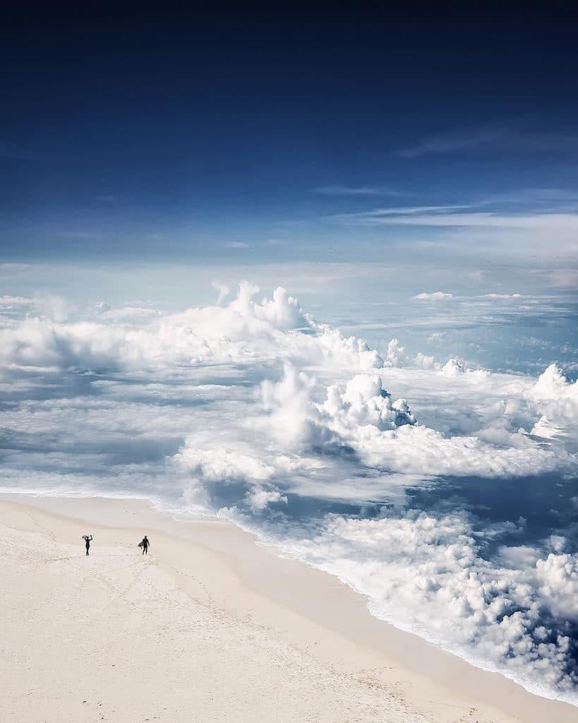 Photoshop spojenie oblakov a mori do uzasnych fotografii