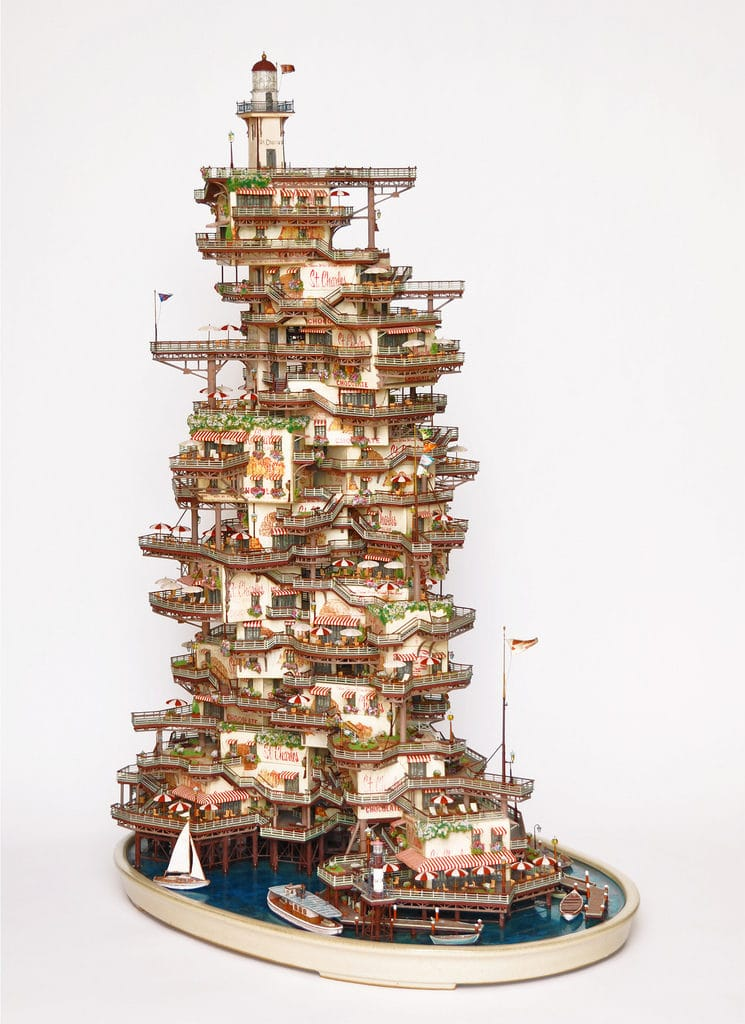 miniaturny rajsky rezort postaveny na stromoch bonsai