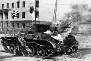 zniceny rusky tank pocas bitky o stalingrad