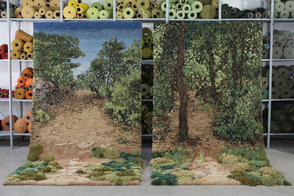 rucne vyrabane koberce vytvorene s motivom prirodnej scenerie argentiny