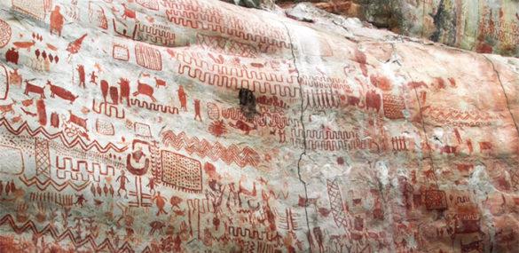 Skalné umenie zobrazujúce vyhynuté zvieratá objavené v kolumbijskej Amazónii a jej vek sa odhaduje na zhruba 12 000 rokov